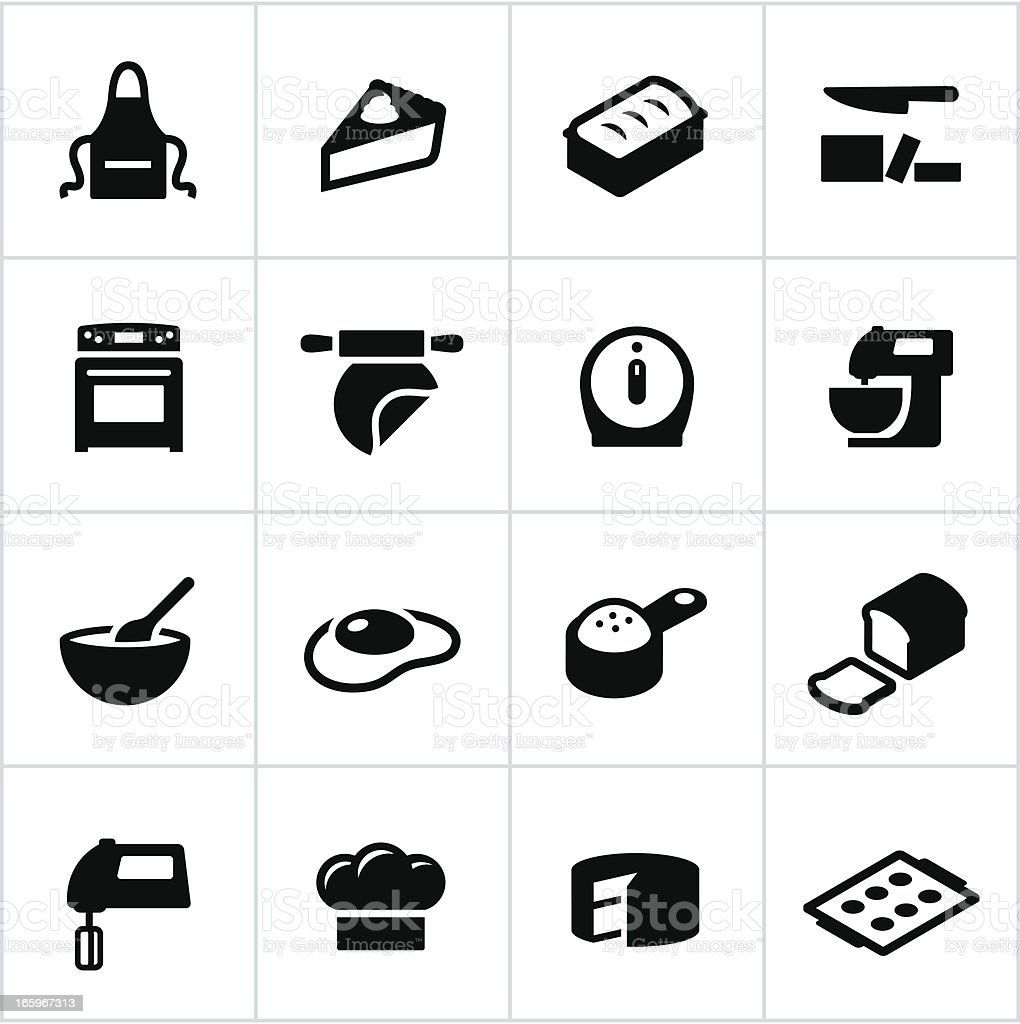 Black Baking Icons vector art illustration