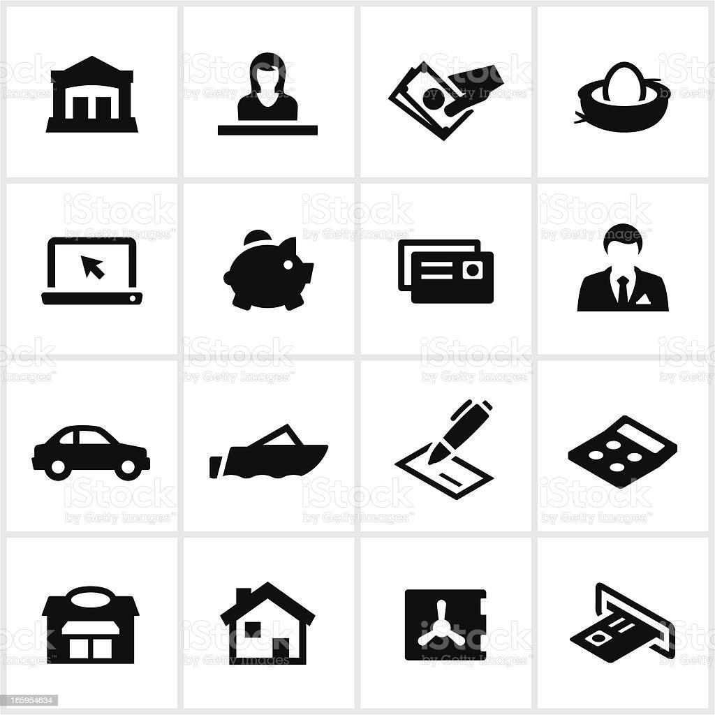 Black Banking Icons royalty-free stock vector art