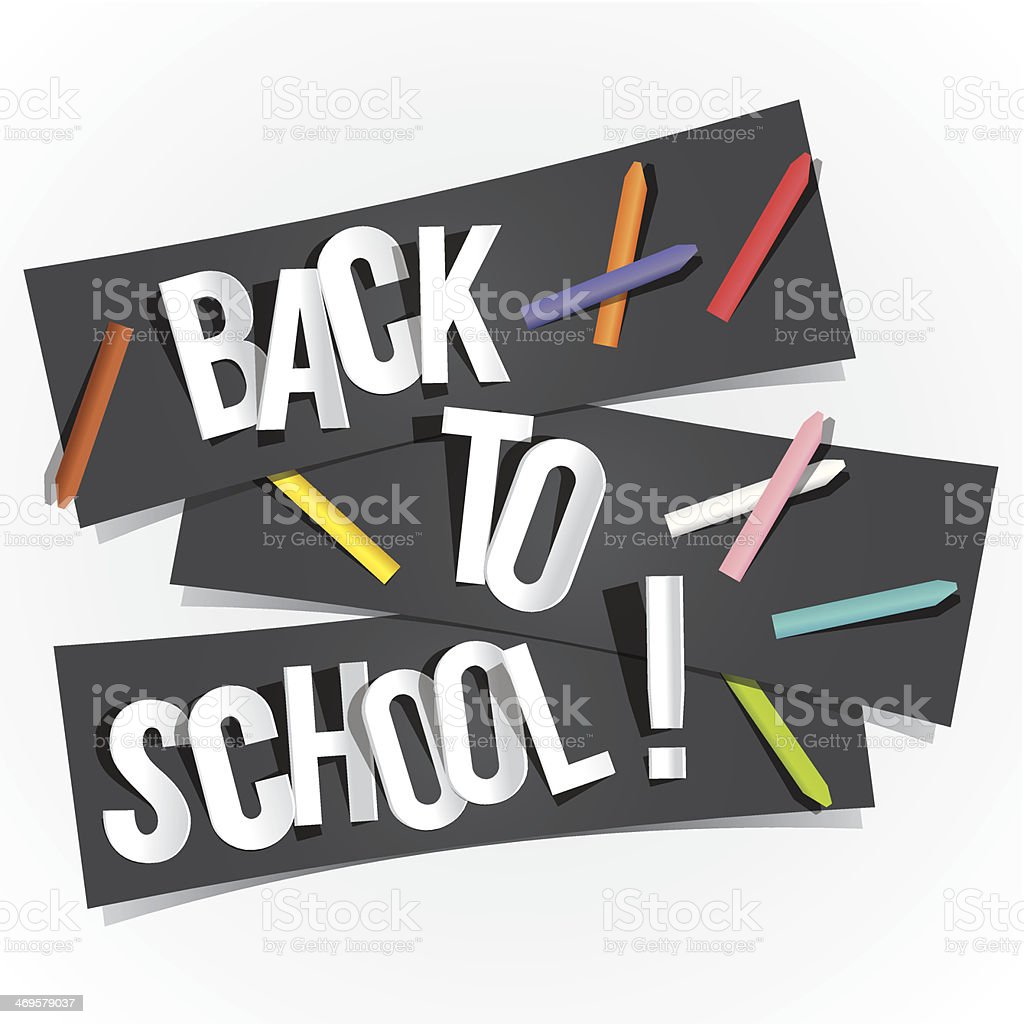 A black banner saying back to school with white background vector art illustration