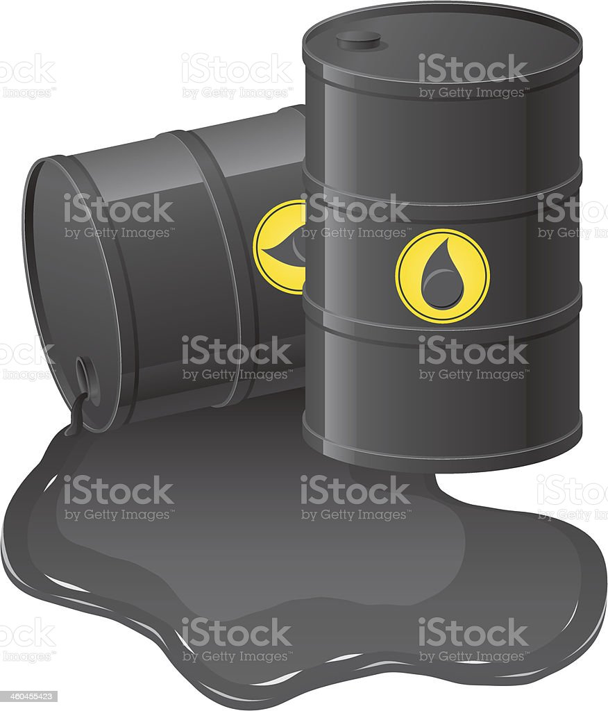 black barrels with spilled oil vector illustration vector art illustration