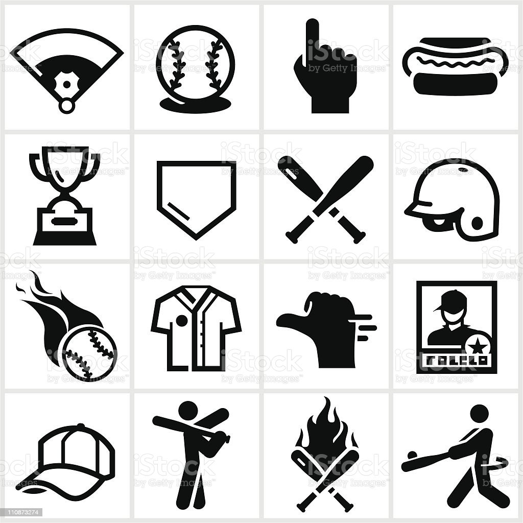 Black Baseball Icons vector art illustration