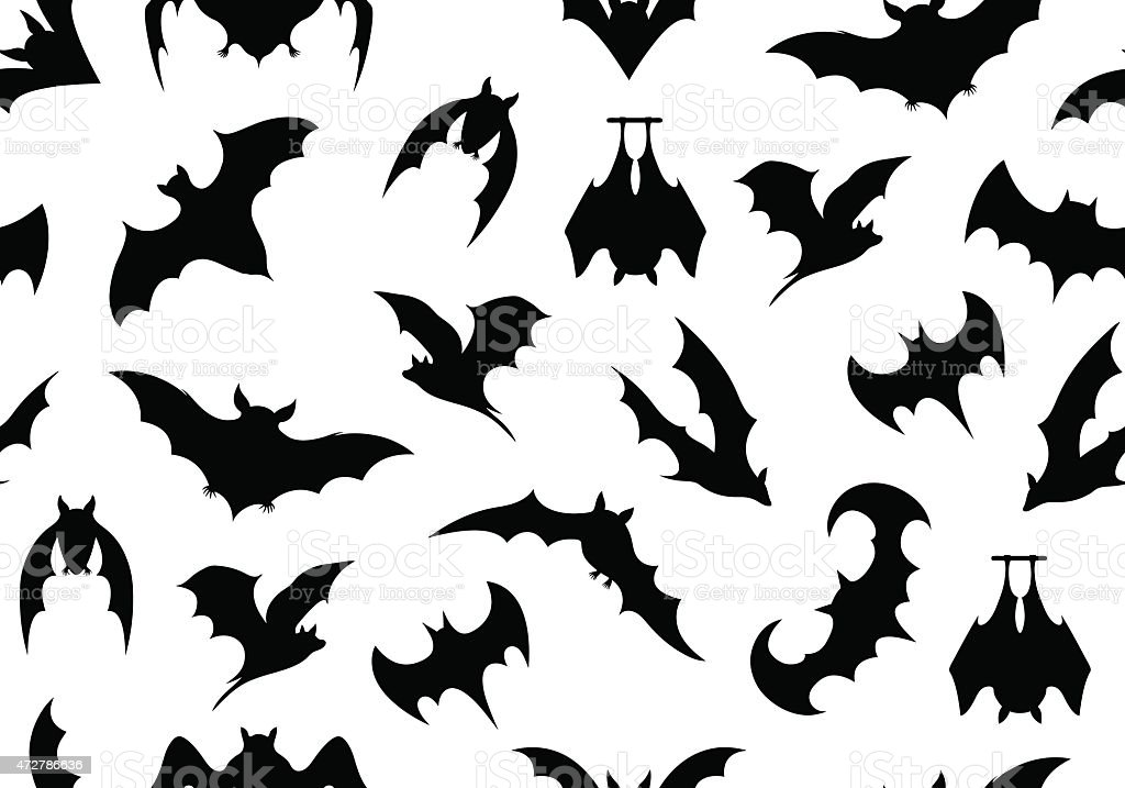 Black bat motifs on a white background vector art illustration