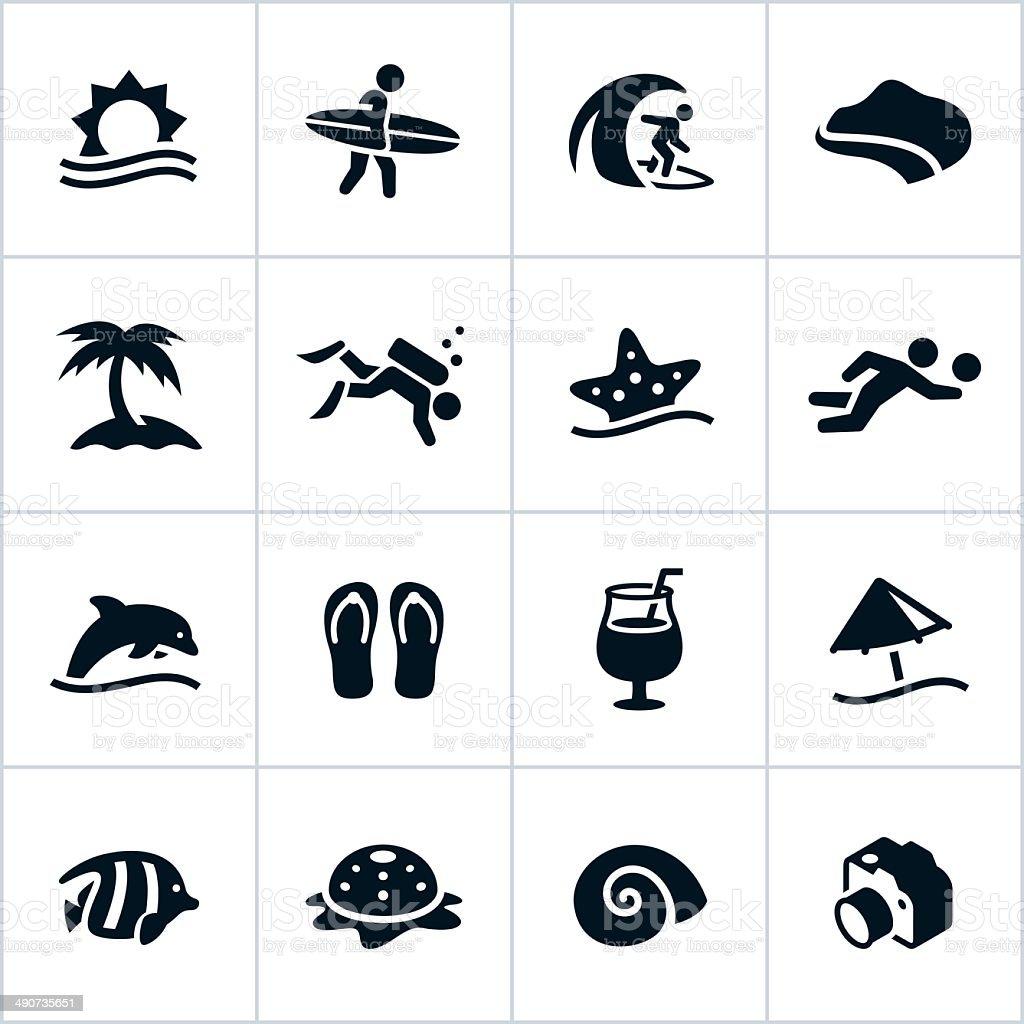 Black Beach Icons vector art illustration