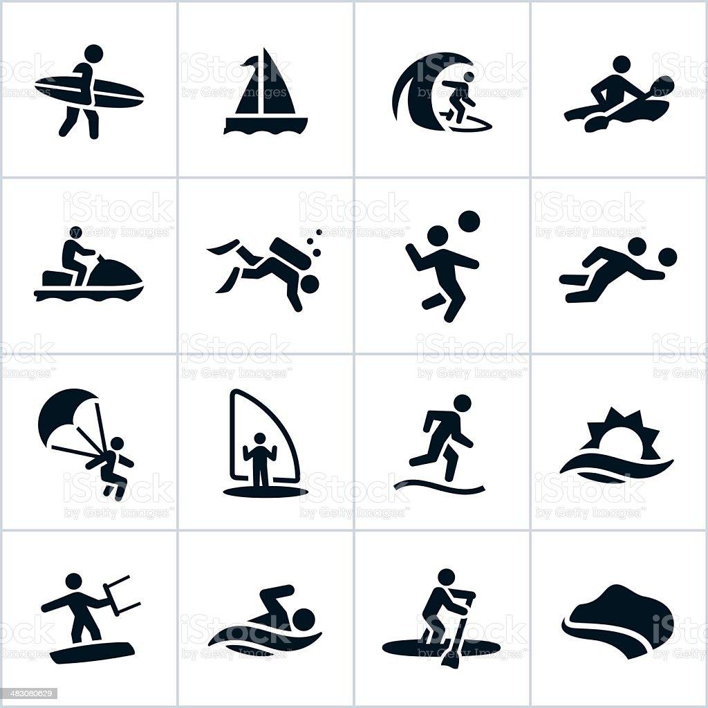 Black Beach Recreation Icons vector art illustration