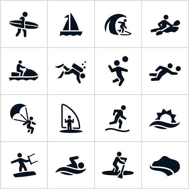Water Sports Icons And Symbols Clip Art Vector Images