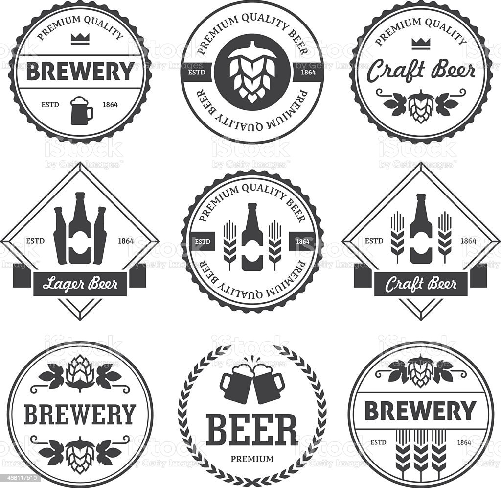 Black beer labels isolated on white vector art illustration