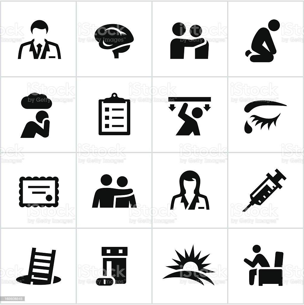 Black Behavioral Health Icons vector art illustration