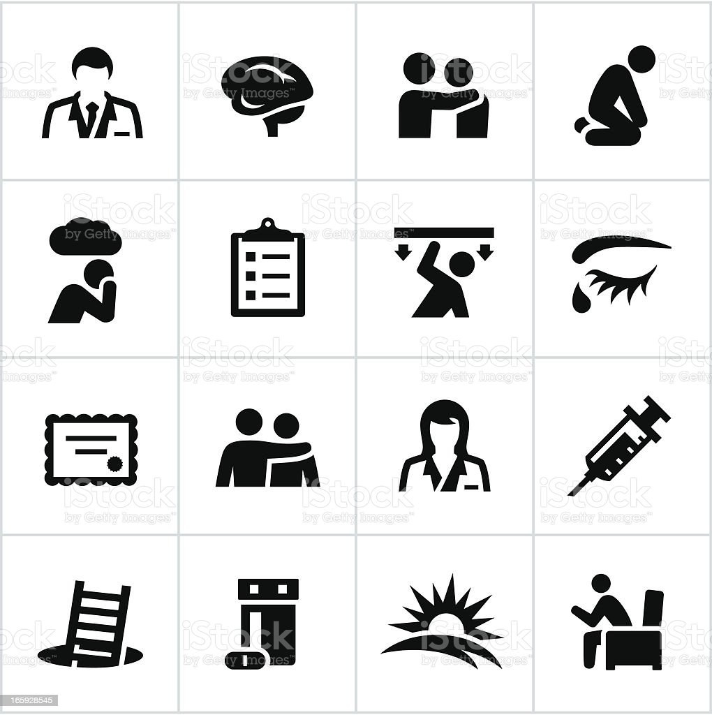 Black Behavioral Health Icons vector art illustration