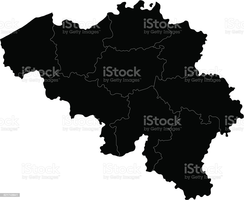 Black Belgium map vector art illustration