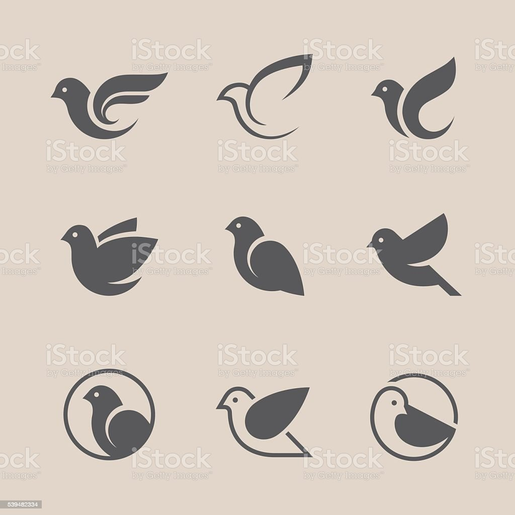 Black bird icons set vector art illustration