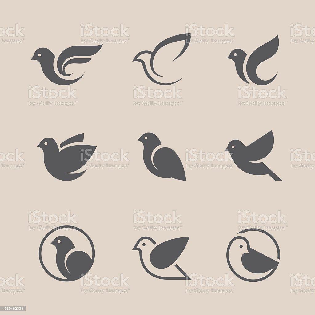 Black bird icons set vector art illustration