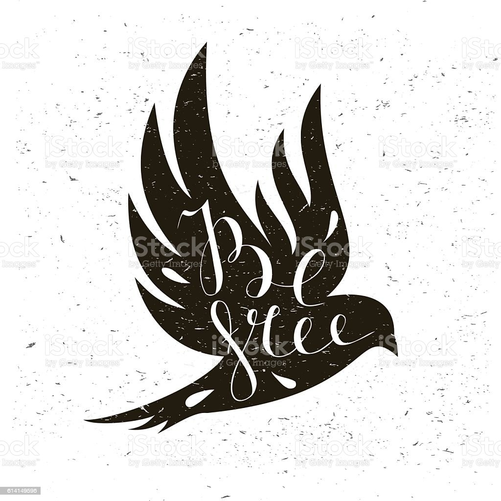 Black bird isolated with expanded wings and motivation quote Be vector art illustration