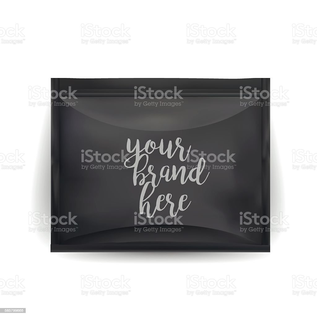 Black Blank Foil Food Snack Sachet Bag Packaging vector art illustration