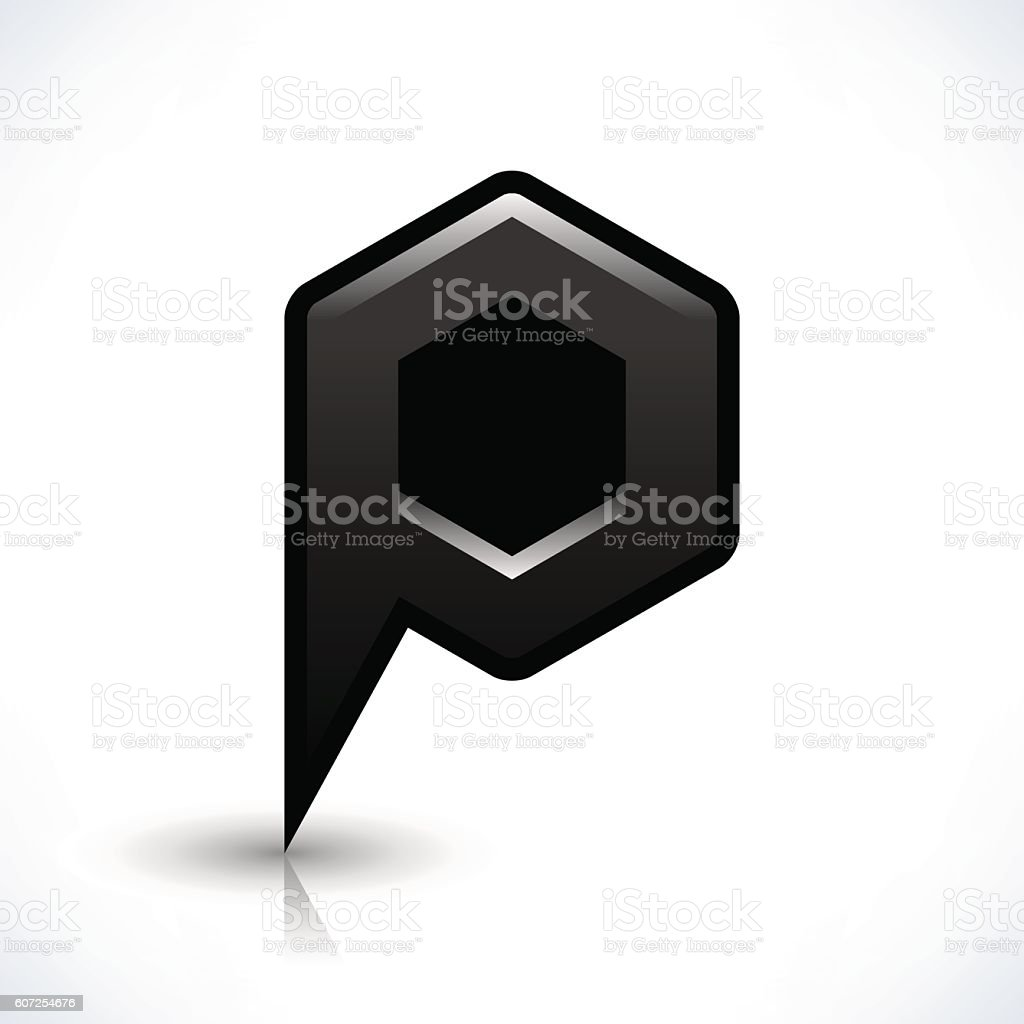 Black blank map pin sign hexagon location icon vector art illustration