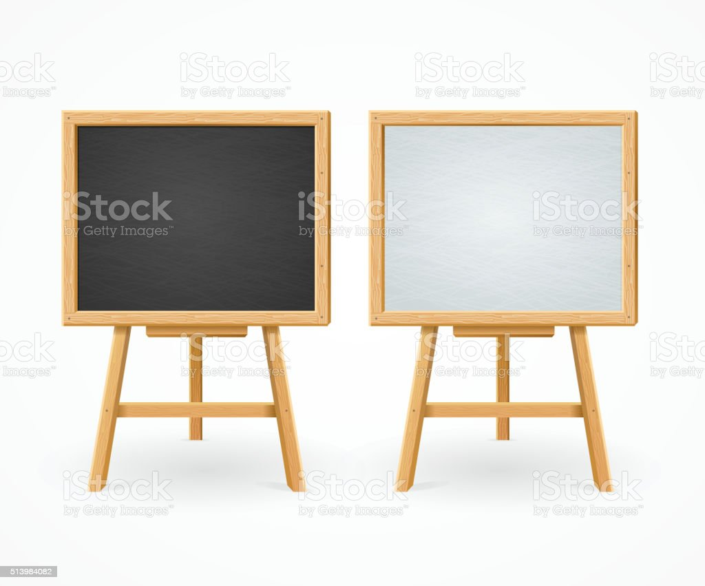 Black Board and White Set On Easel Front View. Vector vector art illustration