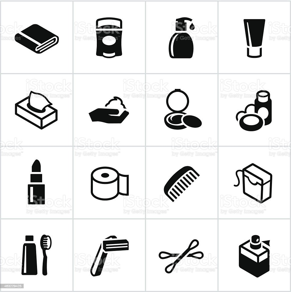 Black Body Care Icons vector art illustration