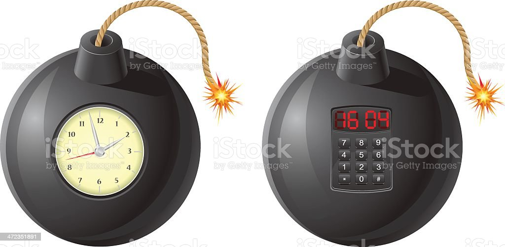 black bomb with a burning fuse and clockwork vector illustration royalty-free stock vector art