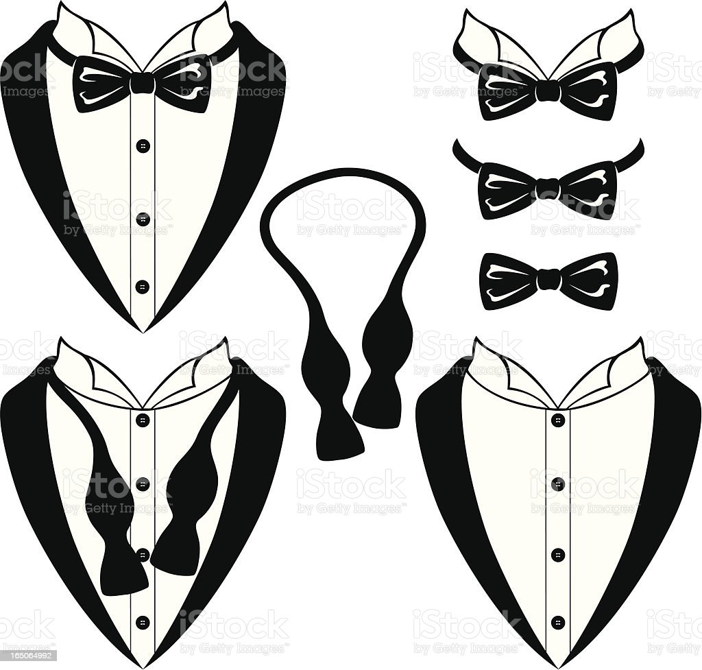 Black Bow Ties vector art illustration