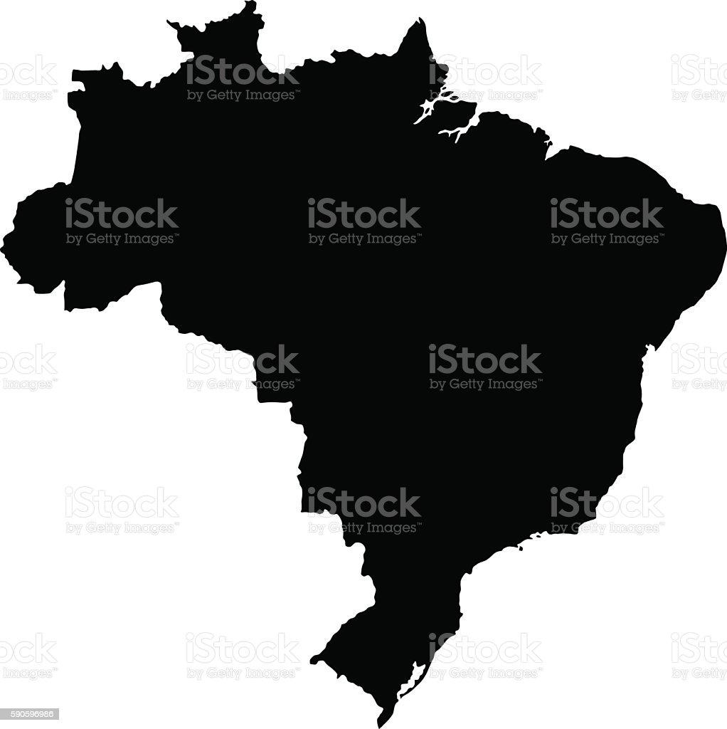 Black Brazil Map vector art illustration