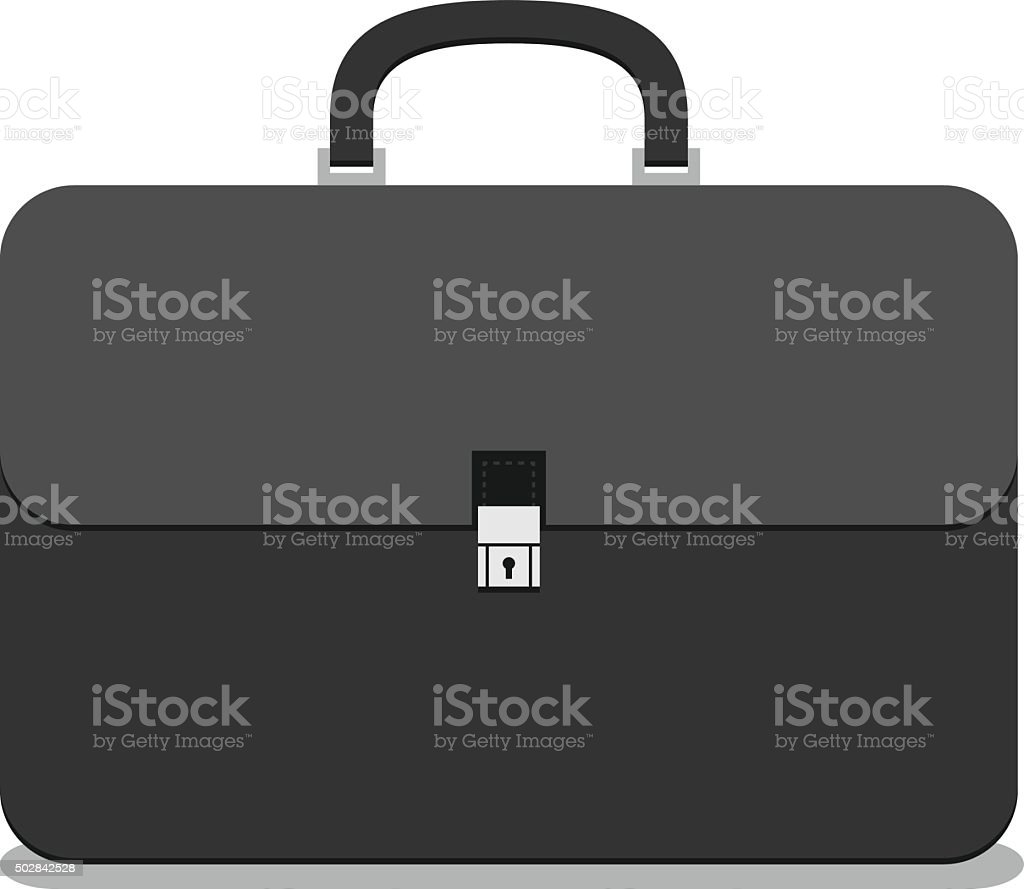 Black briefcase isolated vector art illustration