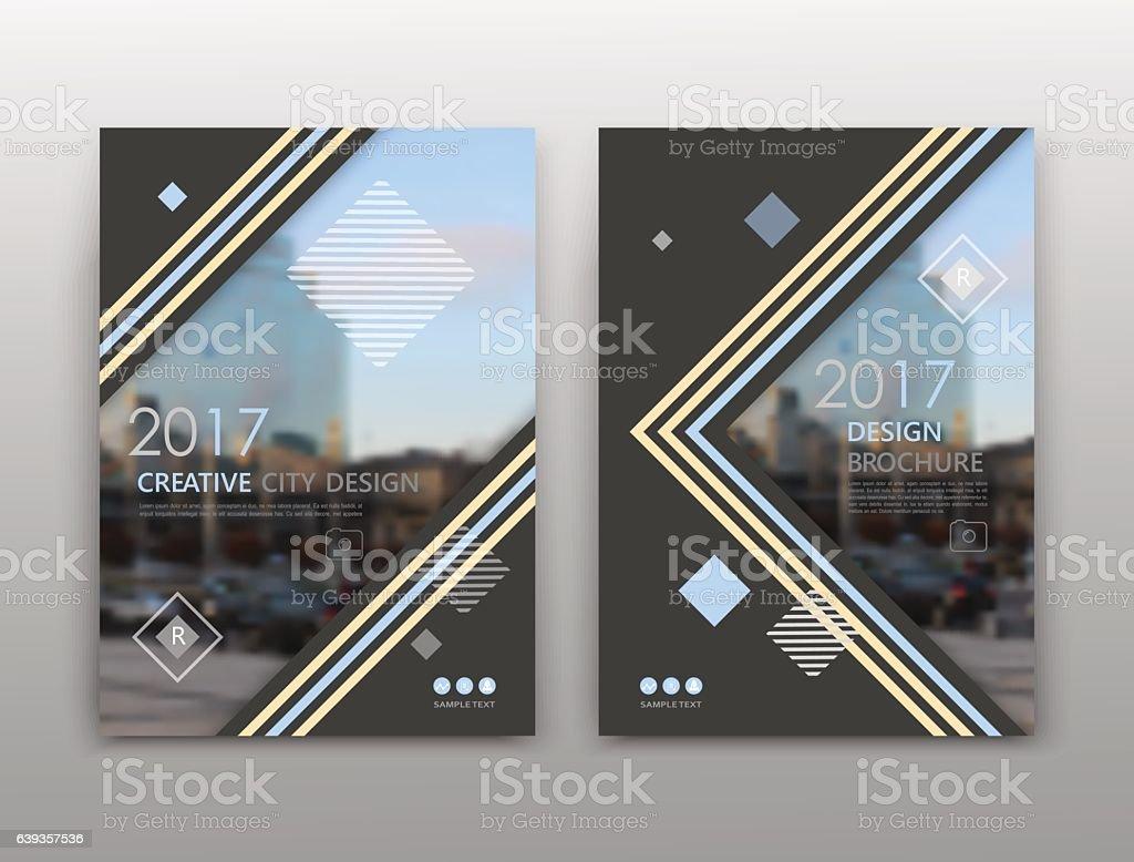 Black brochure cover design. Blue triangle figure image icon. vector art illustration