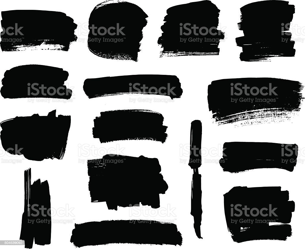 Black brush strokes set vector art illustration