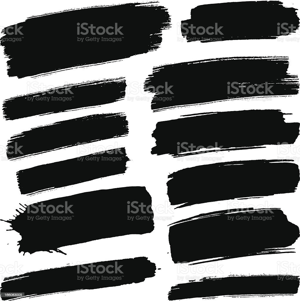 Black brush strokes vector art illustration