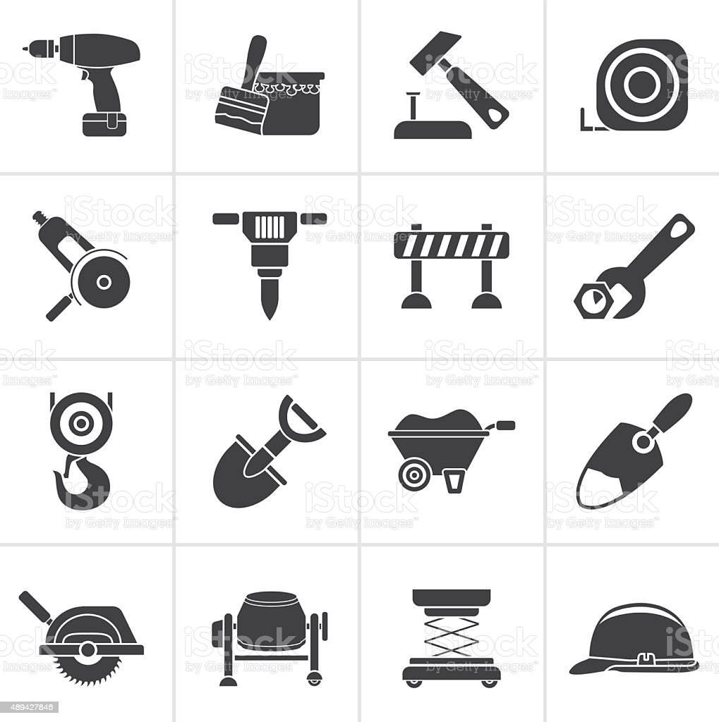 Black building and construction icons vector art illustration