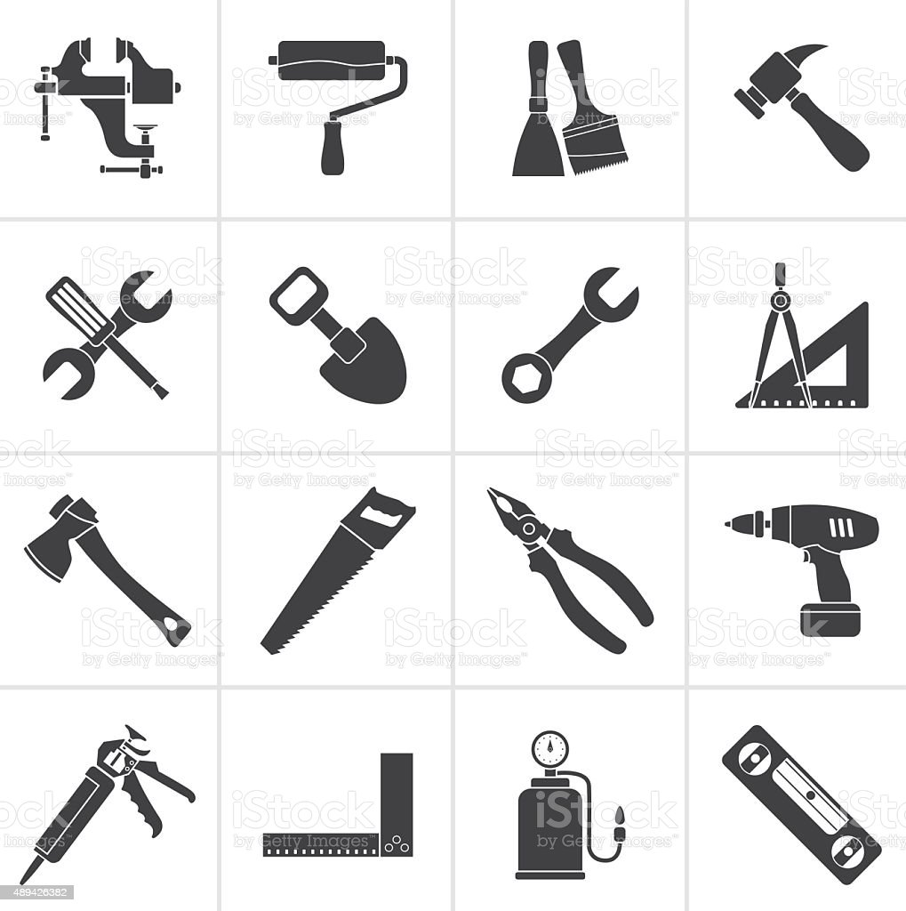 Black Building and Construction work tool icons vector art illustration
