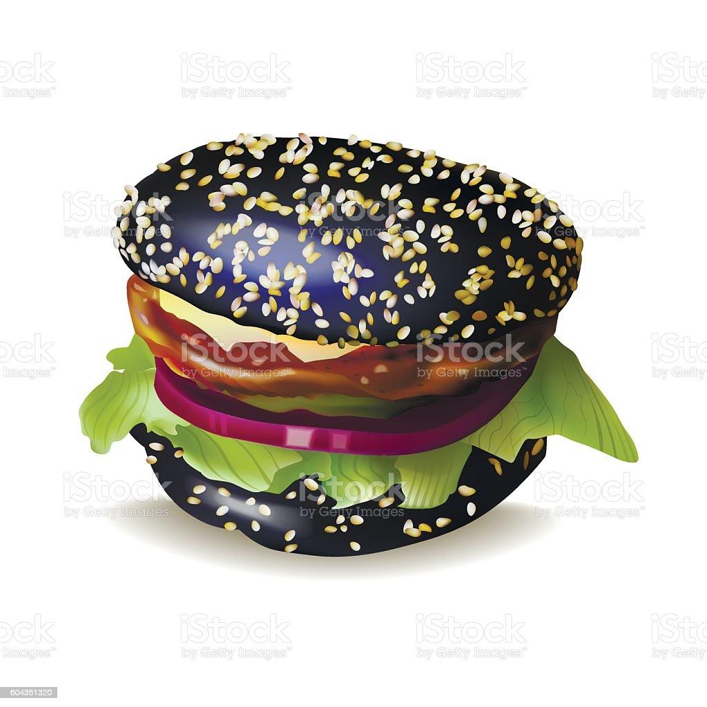 Black Burger Vector Illustration vector art illustration