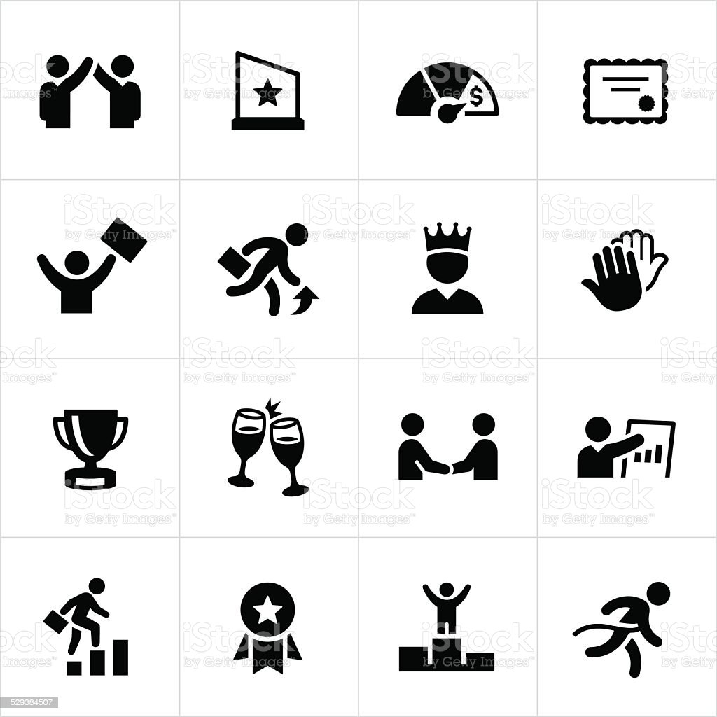 Black Business Achievement Icons vector art illustration