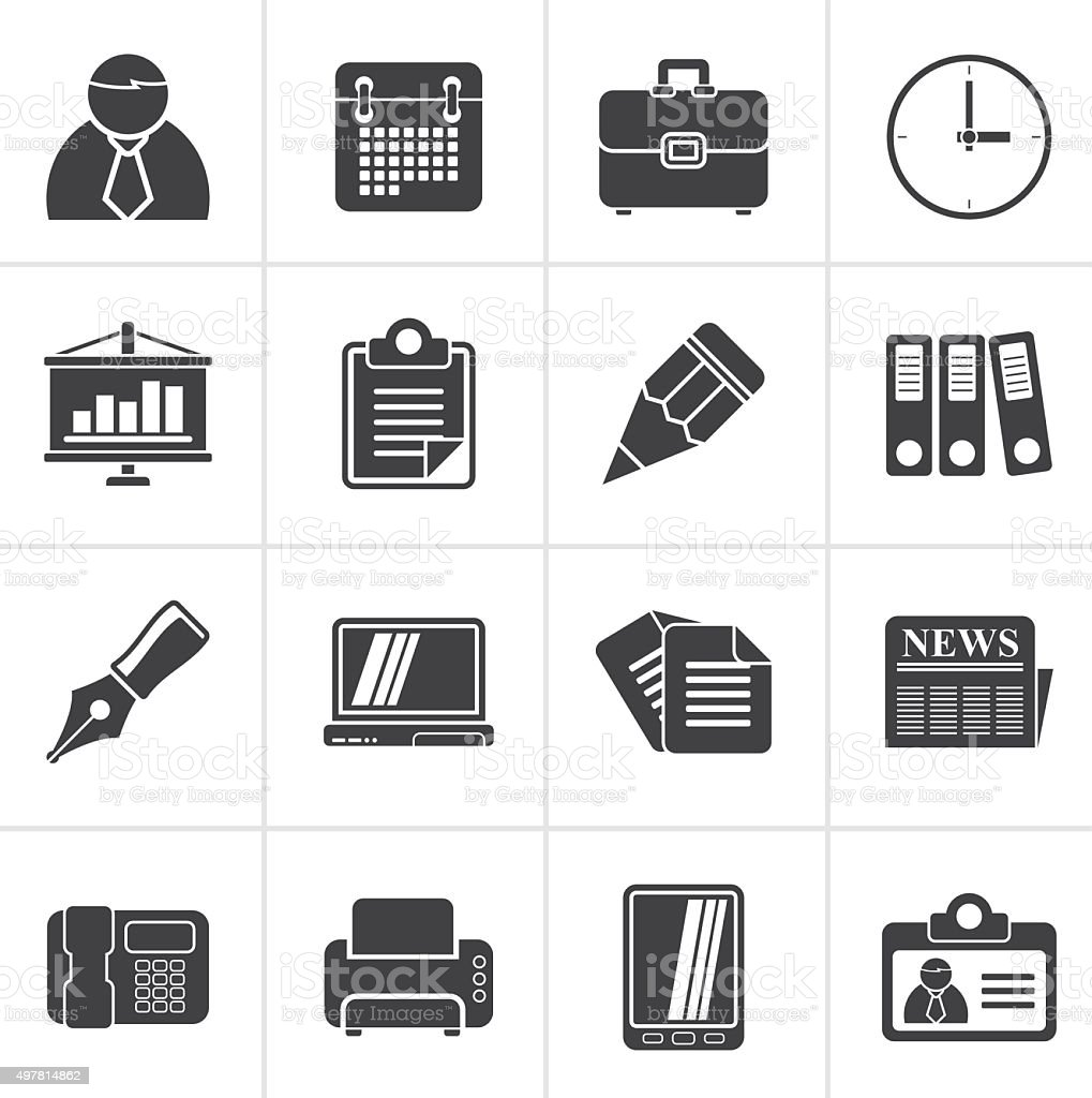 Black Business and Office Icons vector art illustration