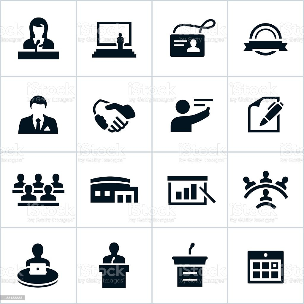 Black Business Convention Icons vector art illustration