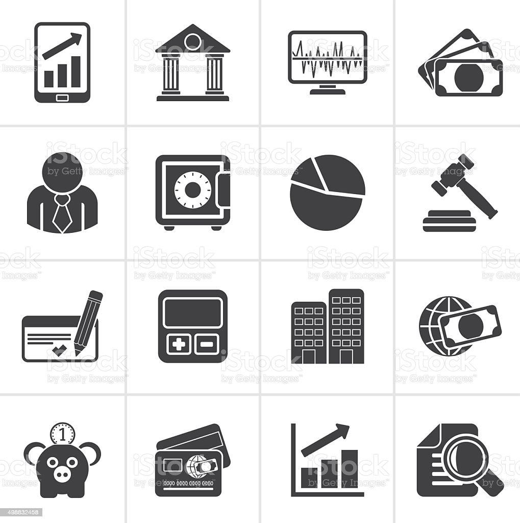 Black Business, finance and bank icons vector art illustration