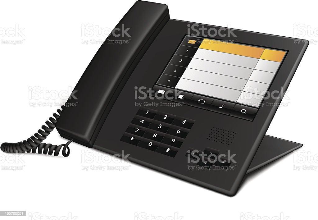 Black business landline telephone on white background vector art illustration