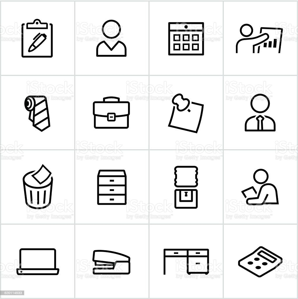 Black Business Office Icons - Line Style vector art illustration