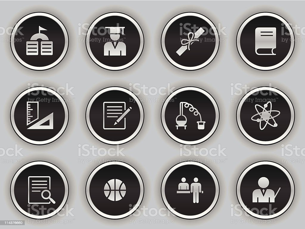 black button icons - education vector art illustration