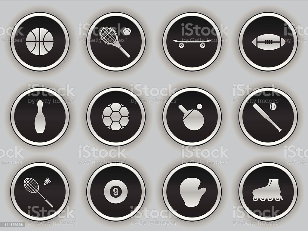 black button icons - sports royalty-free stock vector art