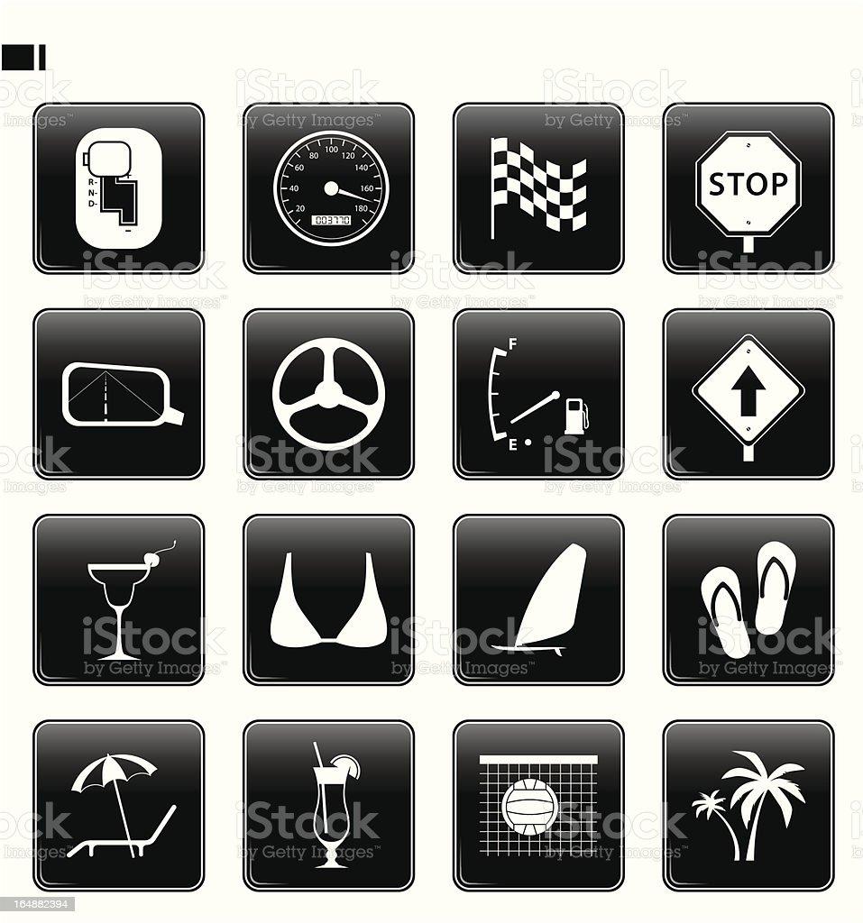 black button set 14 'car & beach' royalty-free stock vector art