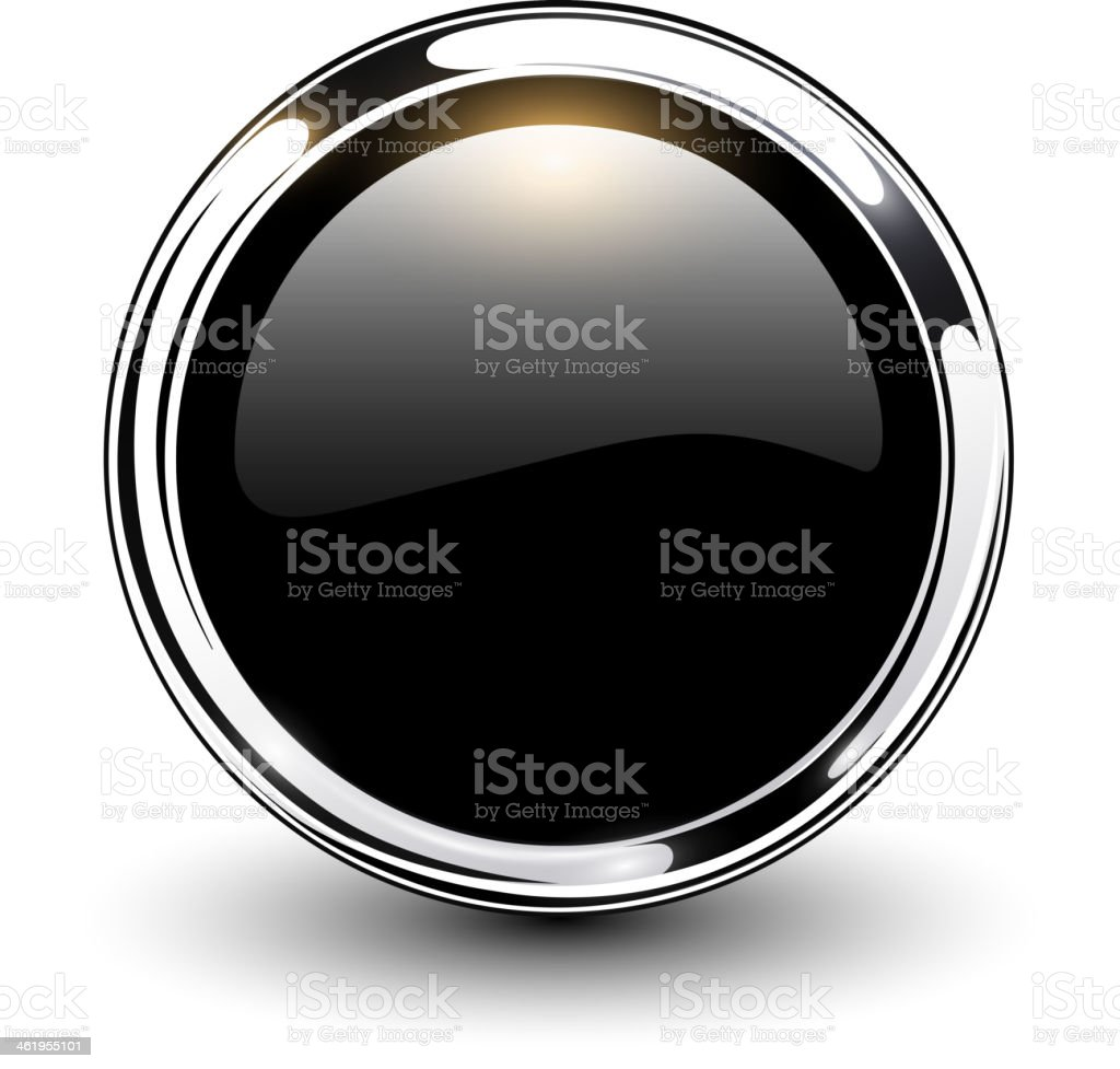 Black button with silver outline  vector art illustration