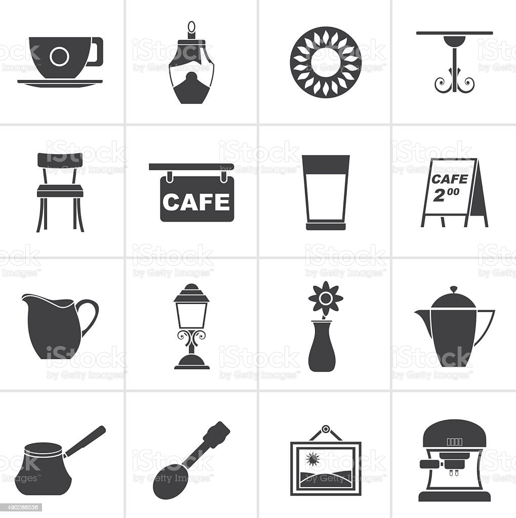 Black Cafe and coffeehouse icons vector art illustration