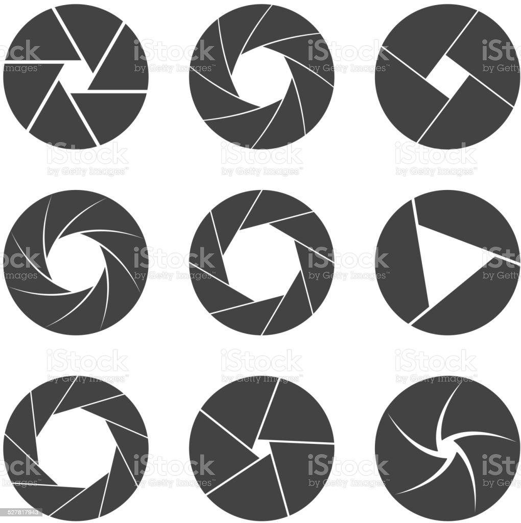 black camera shutter isolated on white background vector vector art illustration