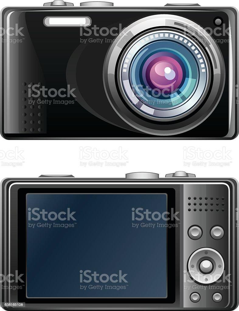 Black camera vector art illustration