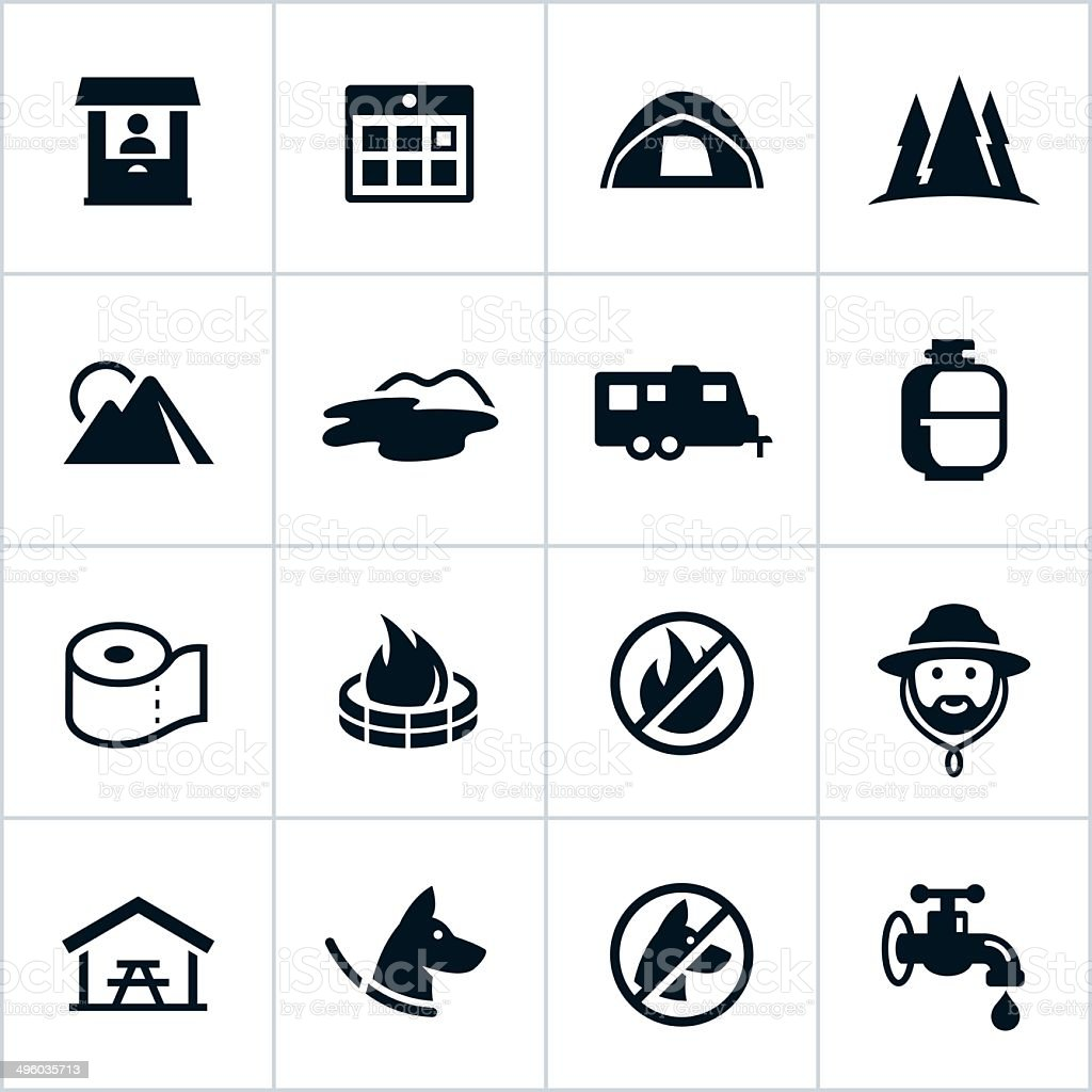 Black Campground Icons vector art illustration