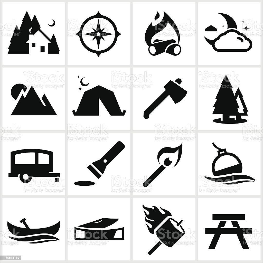 Black Camping Icons vector art illustration