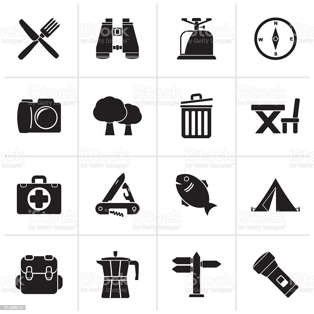 Black Camping, tourism and travel icons vector art illustration