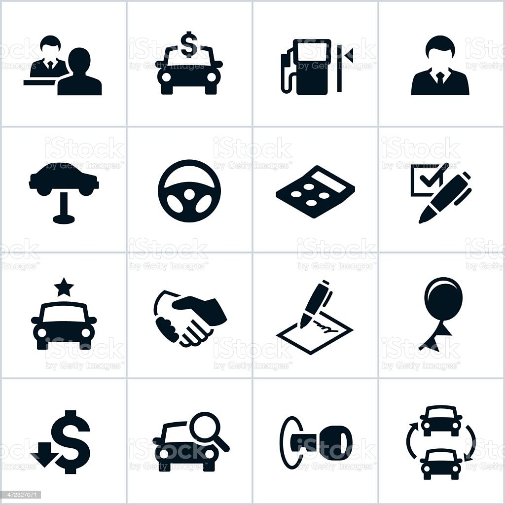 Black Car Dealership Icons vector art illustration