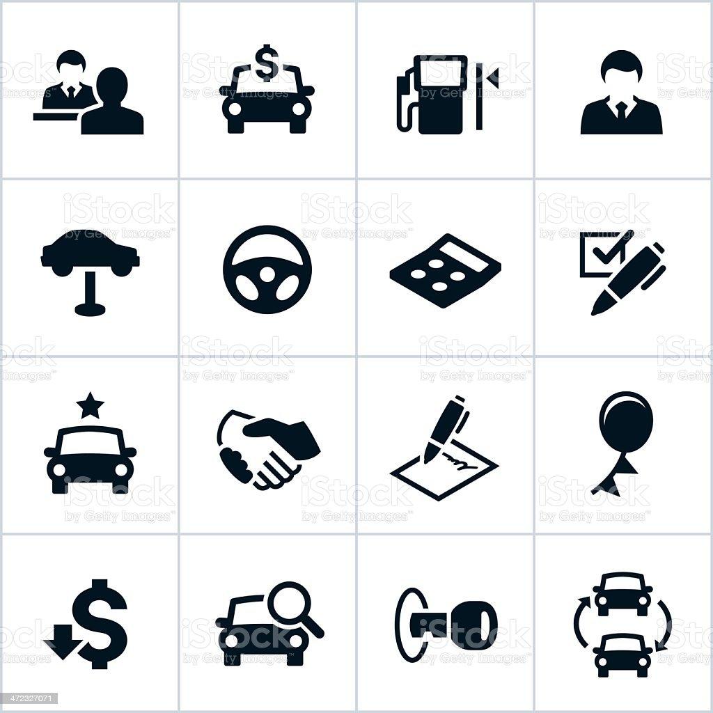 Black Car Dealership Icons vector art illustration