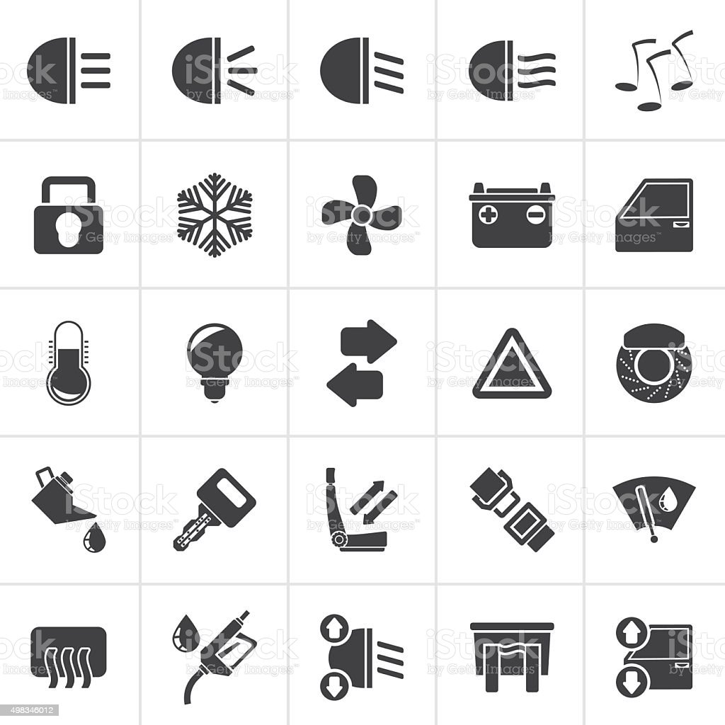 Black Car interface sign and icons vector art illustration