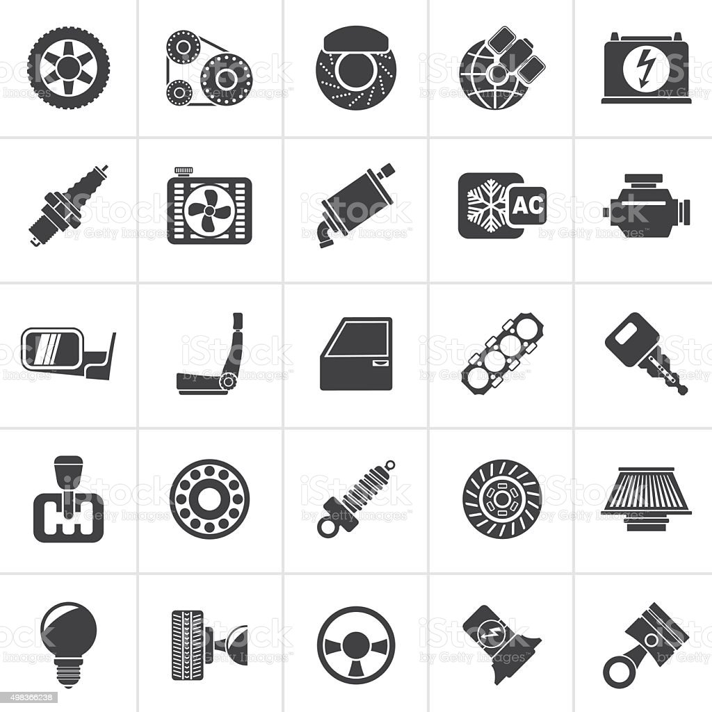 Black Car parts and services icons vector art illustration